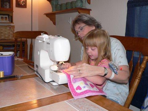 Jenny sews with Grandma
